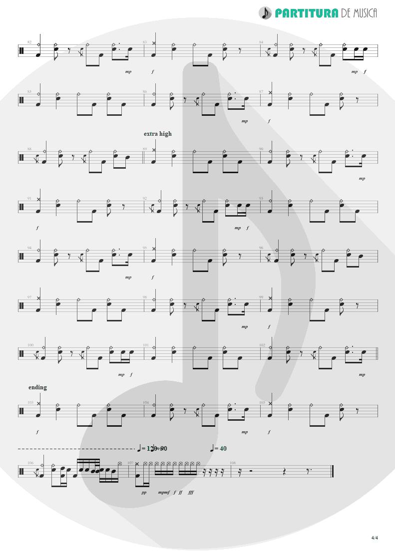 Partitura de musica de Bateria - Acquiesce | Oasis | The Masterplan 1998 - pag 4