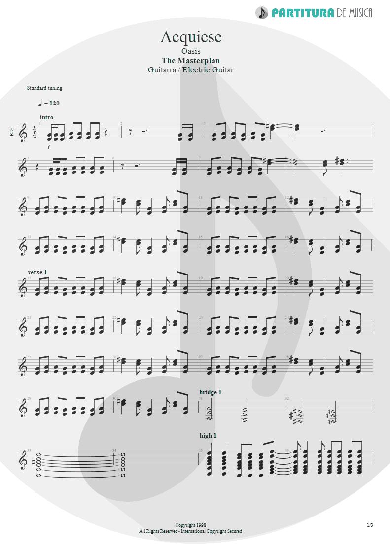 Partitura de musica de Guitarra Elétrica - Acquiesce   Oasis   The Masterplan 1998 - pag 1