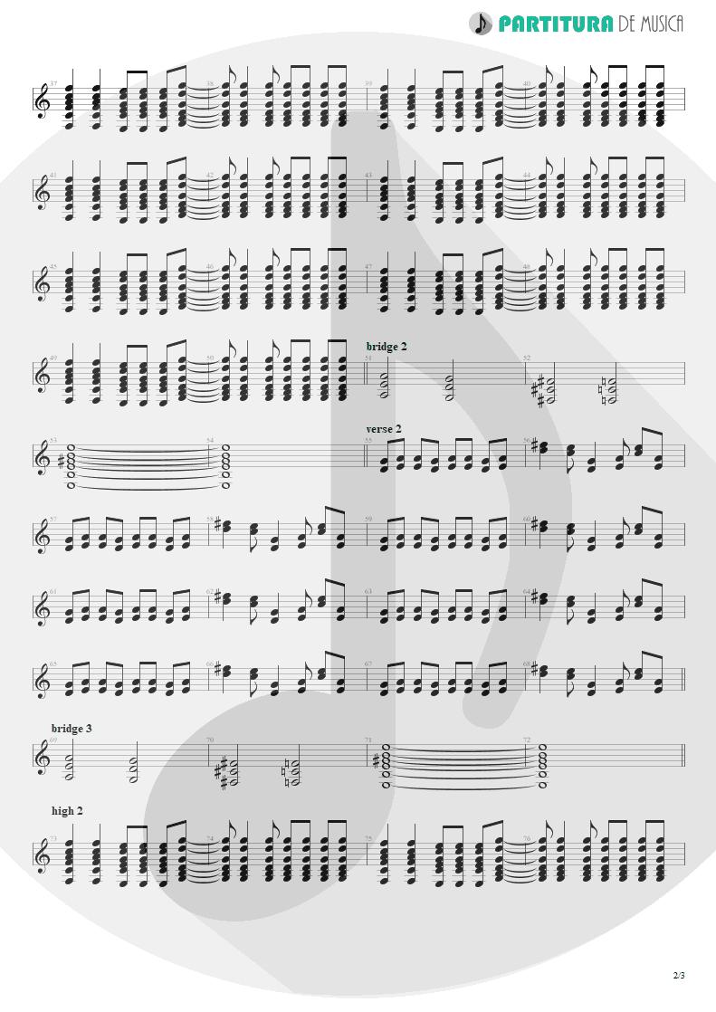 Partitura de musica de Guitarra Elétrica - Acquiesce   Oasis   The Masterplan 1998 - pag 2