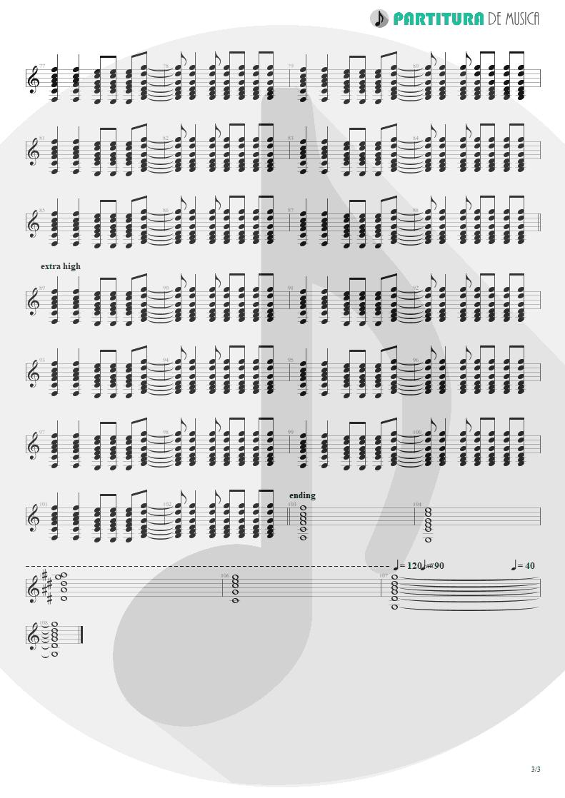 Partitura de musica de Guitarra Elétrica - Acquiesce   Oasis   The Masterplan 1998 - pag 3