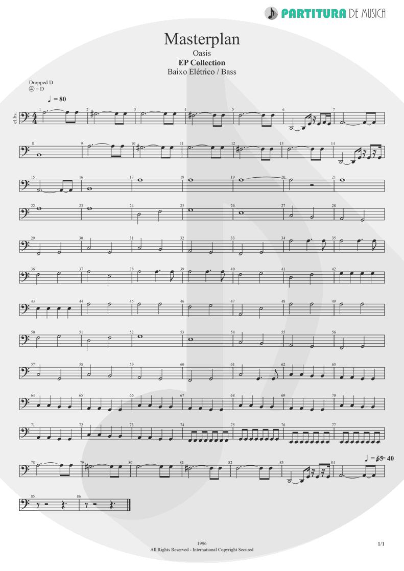 Partitura de musica de Baixo Elétrico - The Masterplan | Oasis | The Masterplan 1998 - pag 1