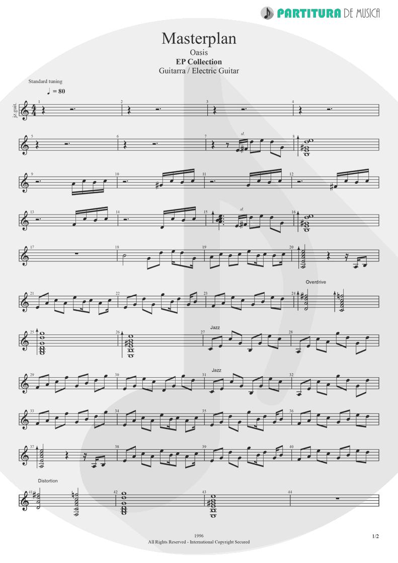 Partitura de musica de Guitarra Elétrica - The Masterplan | Oasis | The Masterplan 1998 - pag 1