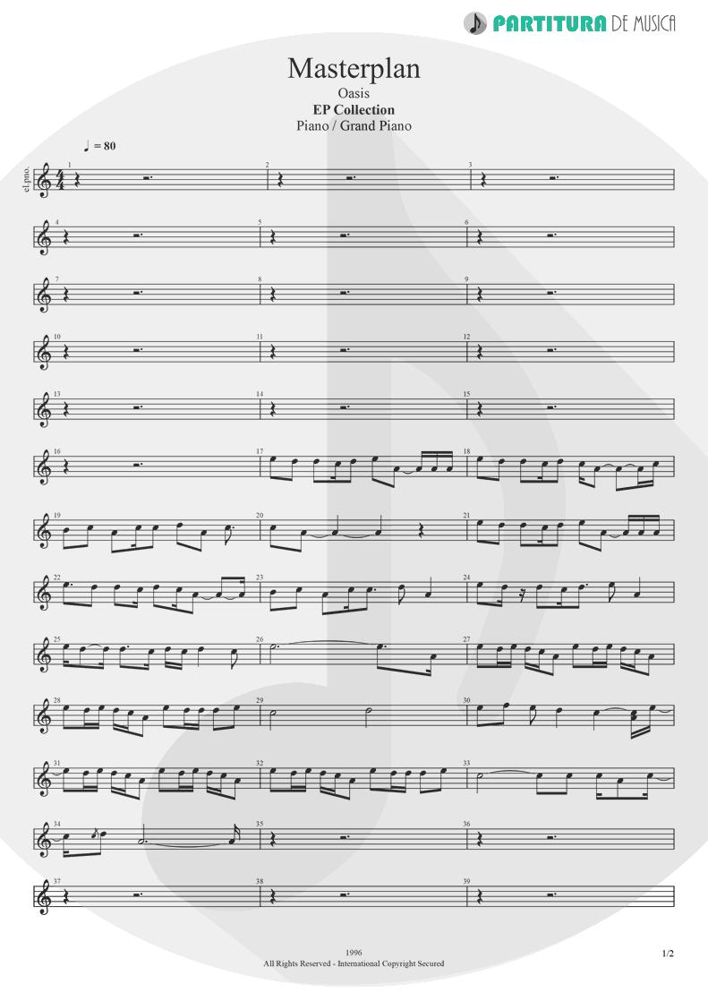 Partitura de musica de Piano - The Masterplan | Oasis | The Masterplan 1998 - pag 1