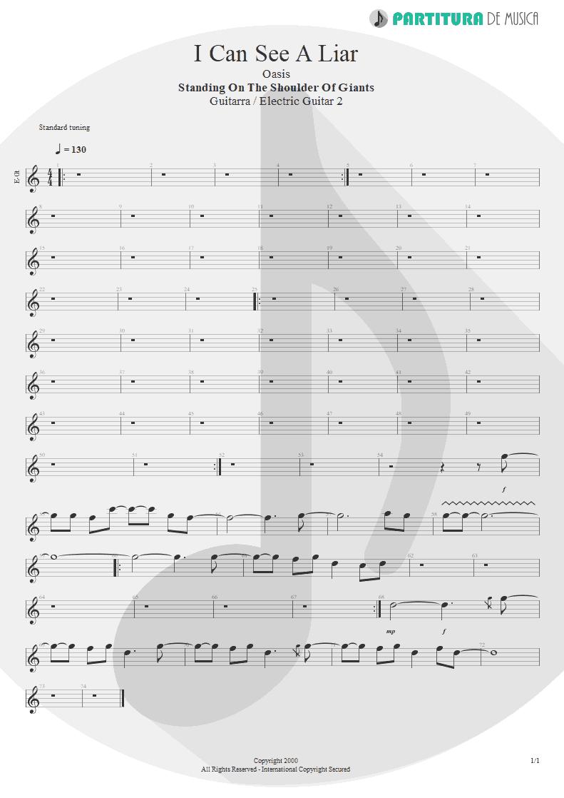 Partitura de musica de Guitarra Elétrica - I Can See A Liar | Oasis | Standing on the Shoulder of Giants 2000 - pag 1
