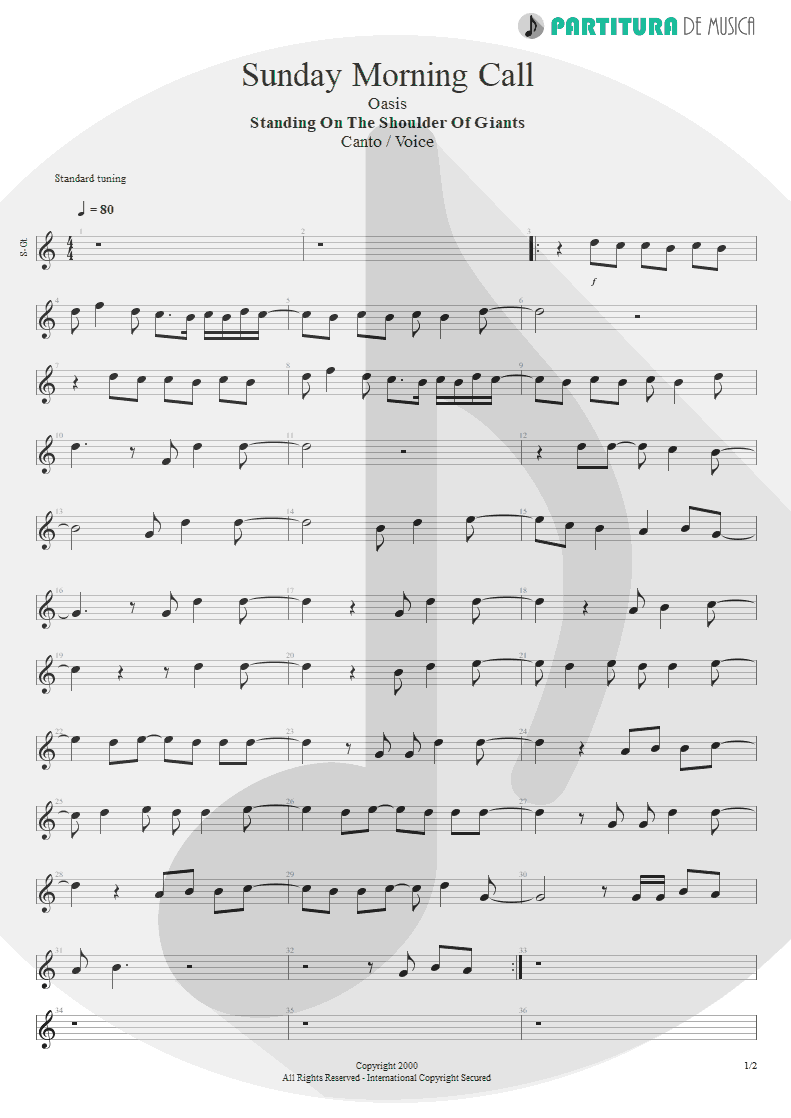 Partitura de musica de Canto - Sunday Morning Call | Oasis | Standing on the Shoulder of Giants 2000 - pag 1