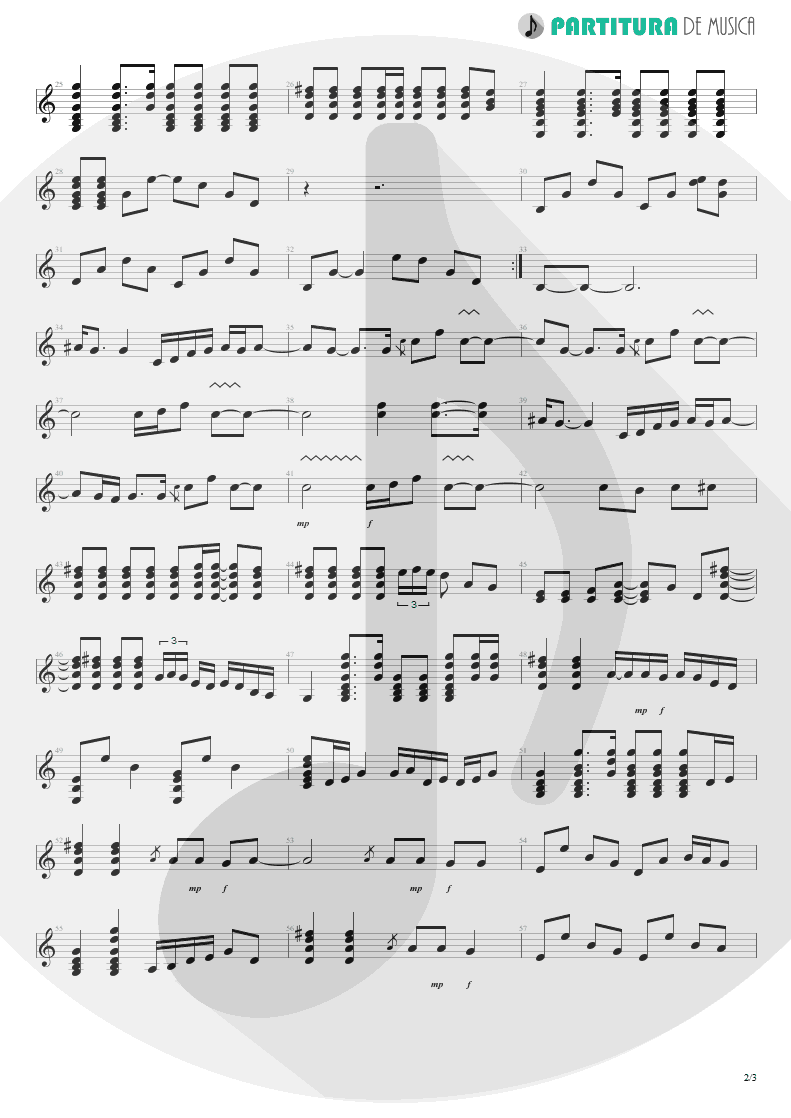 Partitura de musica de Guitarra Elétrica - Sunday Morning Call | Oasis | Standing on the Shoulder of Giants 2000 - pag 2