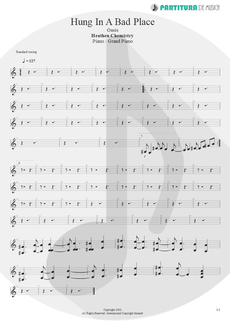 Partitura de musica de Piano - Hung In A Bad Place | Oasis | Heathen Chemistry 2002 - pag 1