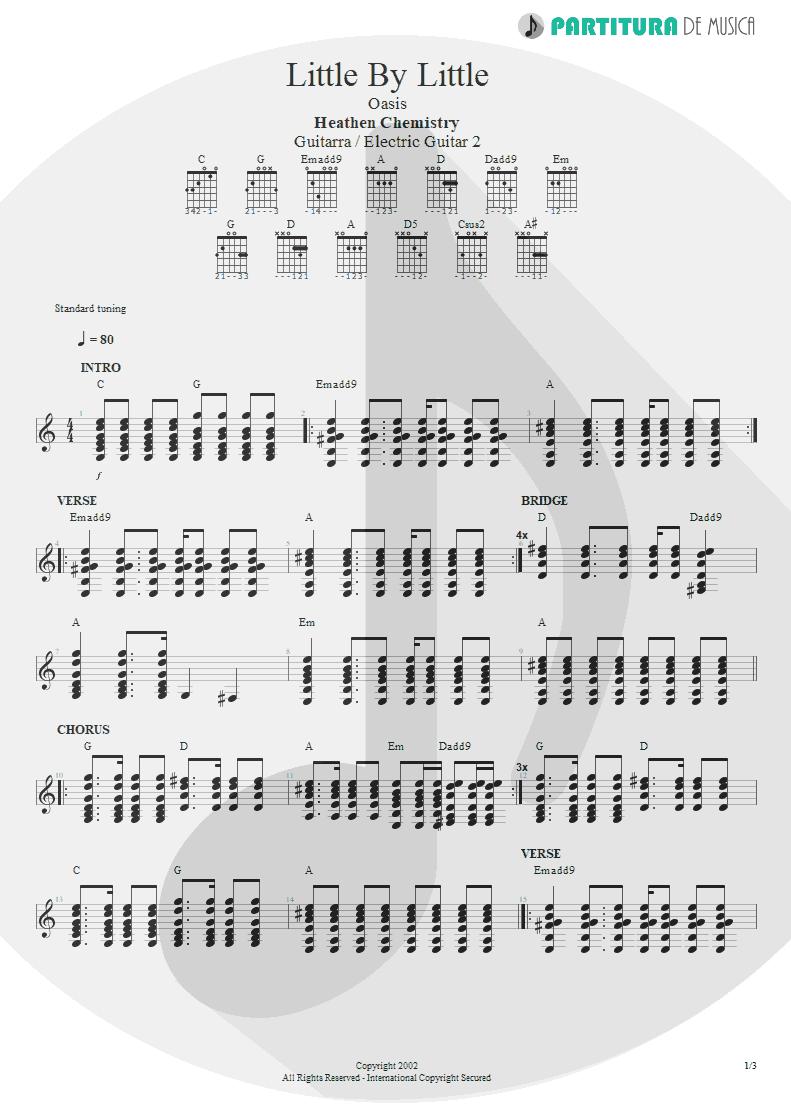 Partitura de musica de Guitarra Elétrica - Little By Little | Oasis | Heathen Chemistry 2002 - pag 1