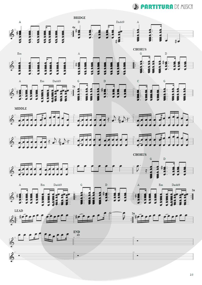 Partitura de musica de Guitarra Elétrica - Little By Little | Oasis | Heathen Chemistry 2002 - pag 2