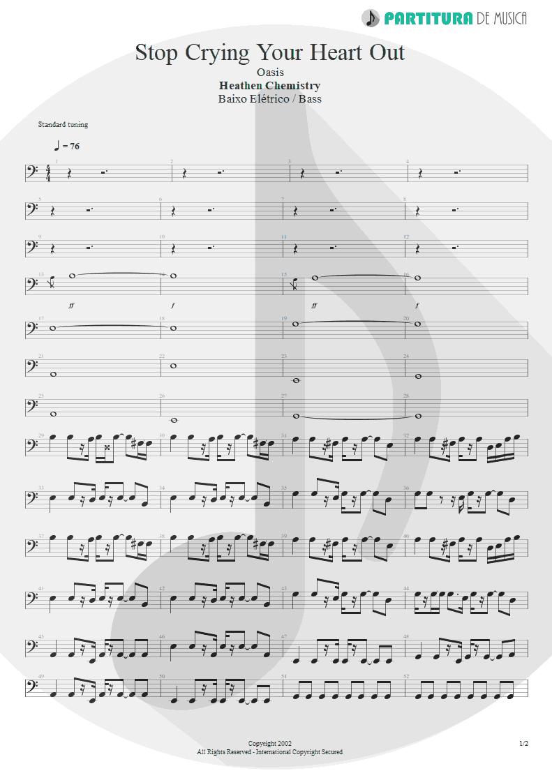 Partitura de musica de Baixo Elétrico - Stop Crying Your Heart Out | Oasis | Heathen Chemistry 2002 - pag 1