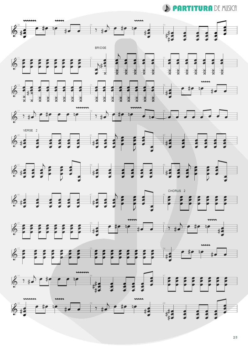 Partitura de musica de Guitarra Elétrica - The Hindu Times | Oasis | Heathen Chemistry 2002 - pag 2