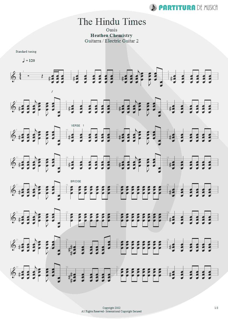 Partitura de musica de Guitarra Elétrica - The Hindu Times | Oasis | Heathen Chemistry 2002 - pag 1