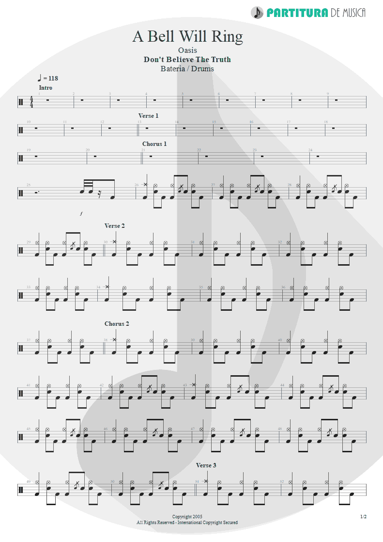 Partitura de musica de Bateria - A Bell Will Ring | Oasis | Don't Believe the Truth 2005 - pag 1