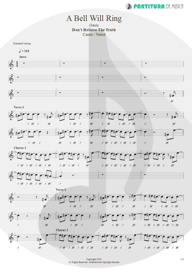 Partitura de musica de Canto - A Bell Will Ring | Oasis | Don't Believe the Truth 2005 - pag 1