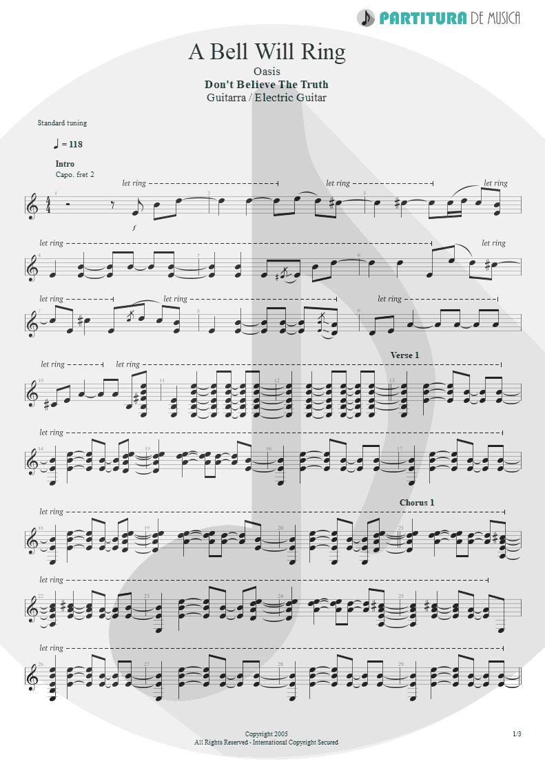 Partitura de musica de Guitarra Elétrica - A Bell Will Ring | Oasis | Don't Believe the Truth 2005 - pag 1