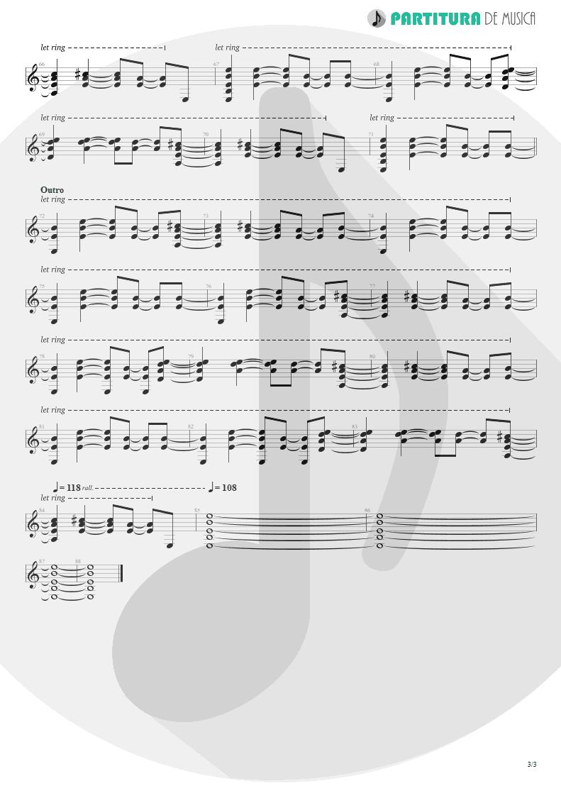 Partitura de musica de Guitarra Elétrica - A Bell Will Ring | Oasis | Don't Believe the Truth 2005 - pag 3