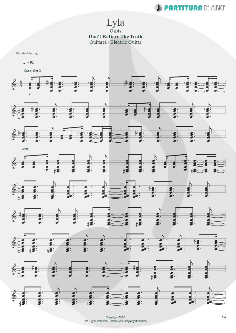 Partitura de musica de Guitarra Elétrica - Lyla | Oasis | Don't Believe the Truth 2005 - pag 1