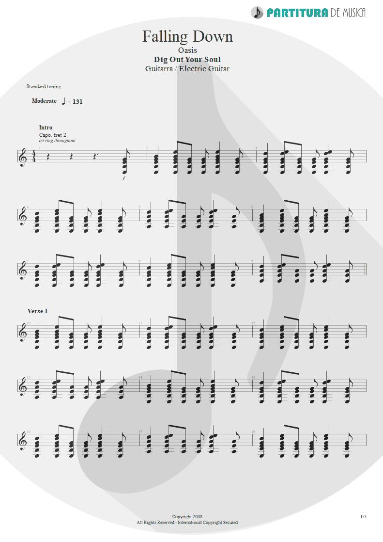 Partitura de musica de Guitarra Elétrica - Falling Down | Oasis | Dig Out Your Soul 2008 - pag 1