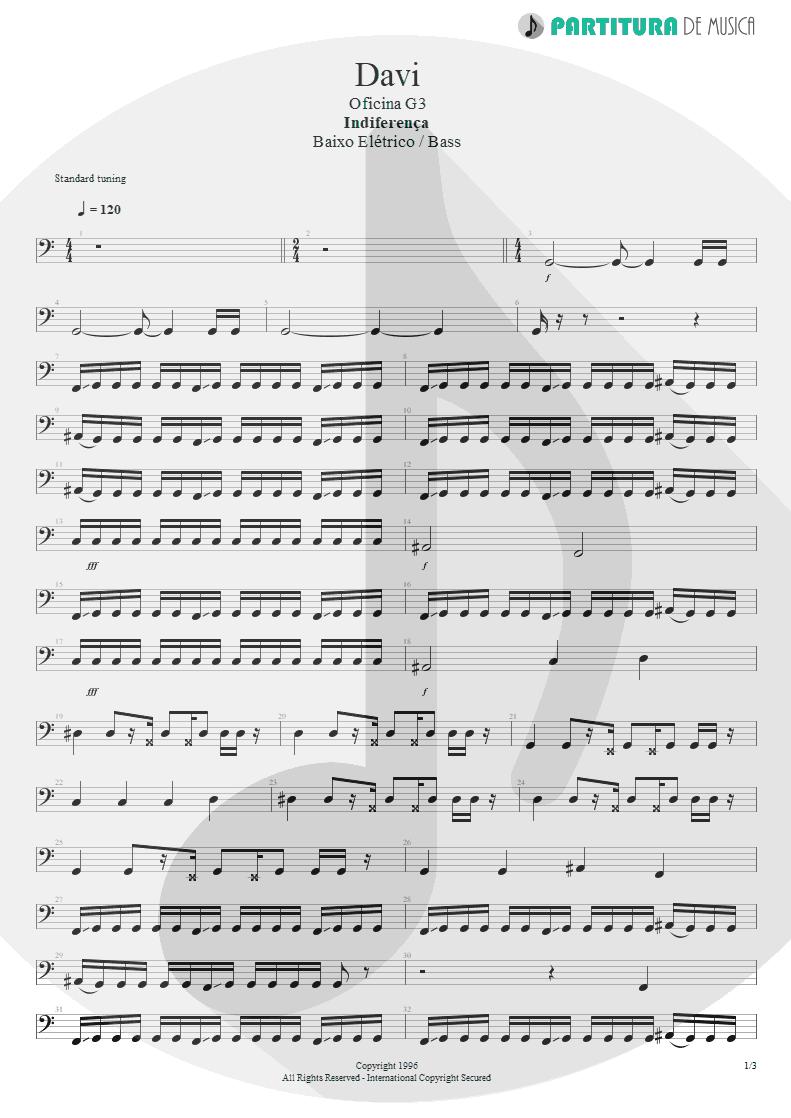 Partitura de musica de Baixo Elétrico - Davi | Oficina G3 | Indiferença 1996 - pag 1