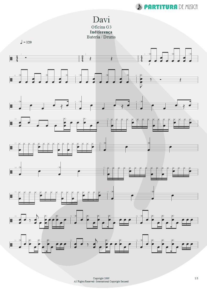 Partitura de musica de Bateria - Davi | Oficina G3 | Indiferença 1996 - pag 1