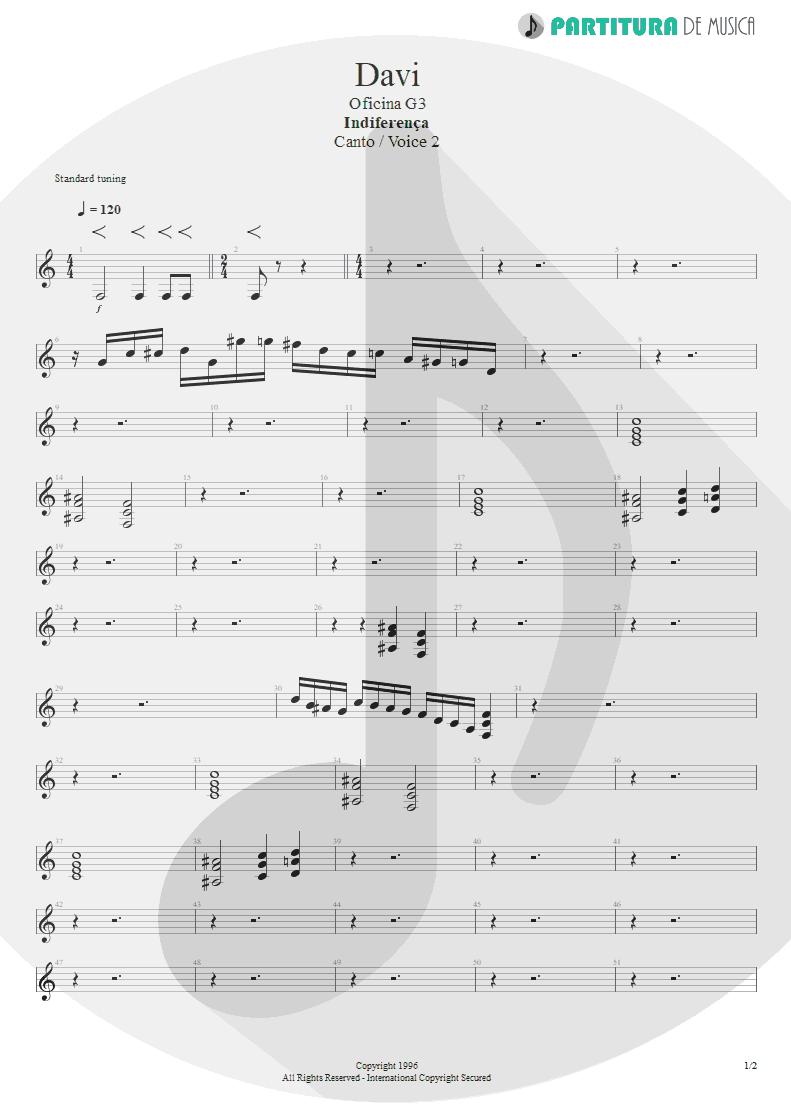 Partitura de musica de Canto - Davi | Oficina G3 | Indiferença 1996 - pag 1