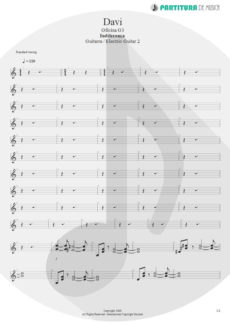 Partitura de musica de Guitarra Elétrica - Davi | Oficina G3 | Indiferença 1996 - pag 1