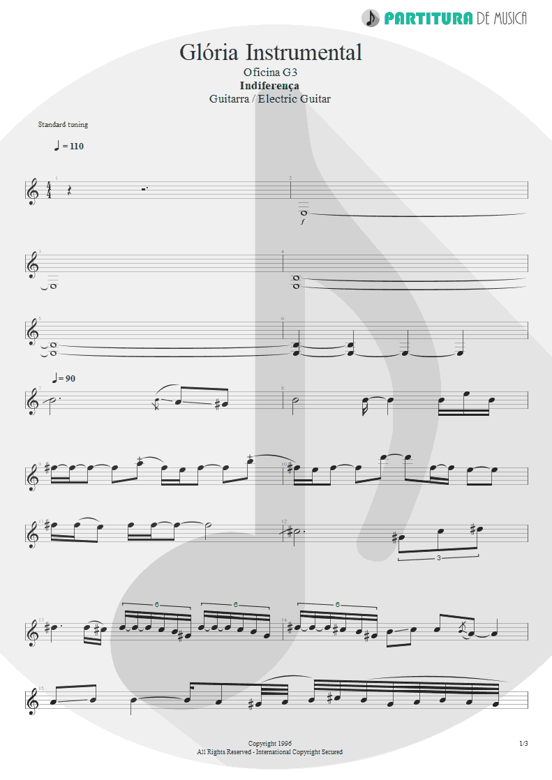 Partitura de musica de Guitarra Elétrica - Glória - Instrumental | Oficina G3 | Indiferença 1996 - pag 1