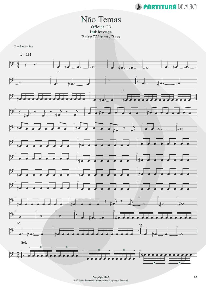 Partitura de musica de Baixo Elétrico - Não Temas   Oficina G3   Indiferença 1996 - pag 1