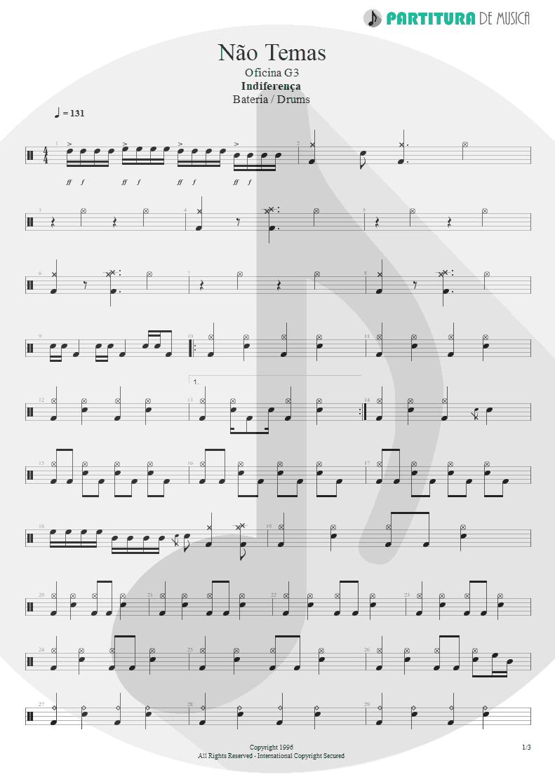 Partitura de musica de Bateria - Não Temas | Oficina G3 | Indiferença 1996 - pag 1