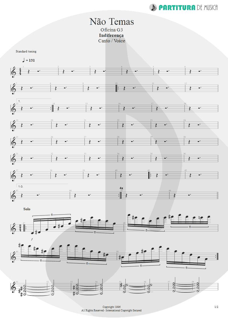 Partitura de musica de Canto - Não Temas | Oficina G3 | Indiferença 1996 - pag 1