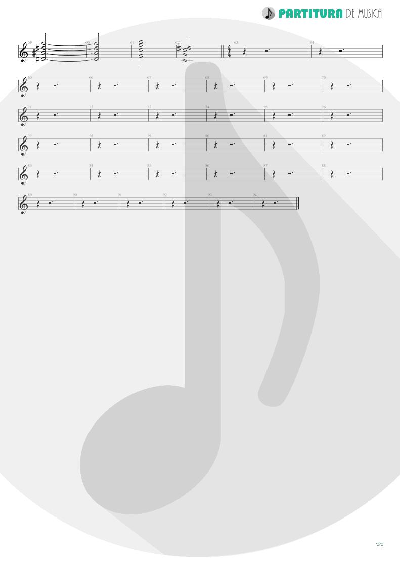 Partitura de musica de Canto - Não Temas | Oficina G3 | Indiferença 1996 - pag 2