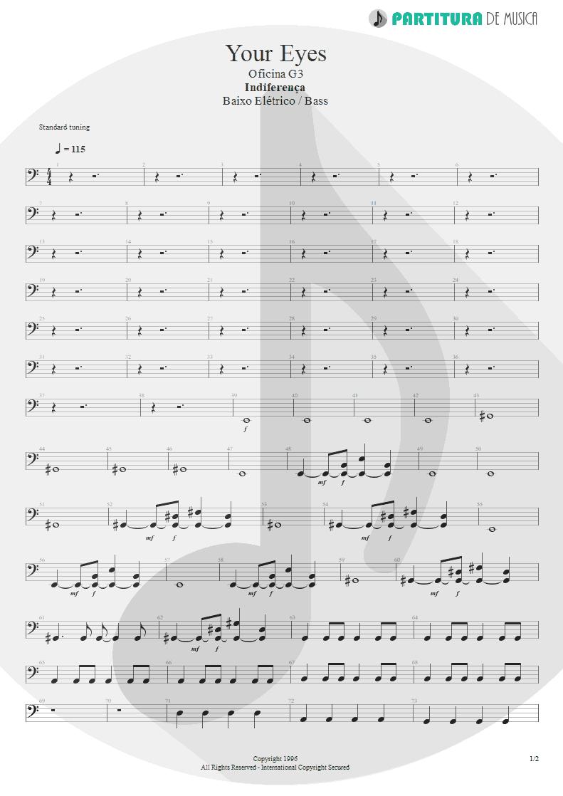 Partitura de musica de Baixo Elétrico - Your Eyes | Oficina G3 | Indiferença 1996 - pag 1