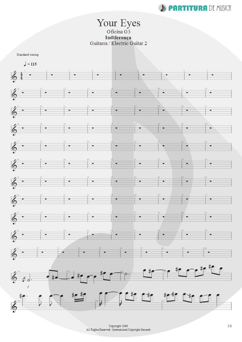 Partitura de musica de Guitarra Elétrica - Your Eyes | Oficina G3 | Indiferença 1996 - pag 1