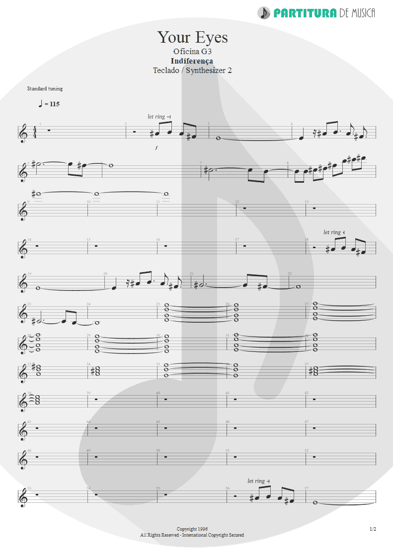 Partitura de musica de Teclado - Your Eyes | Oficina G3 | Indiferença 1996 - pag 1
