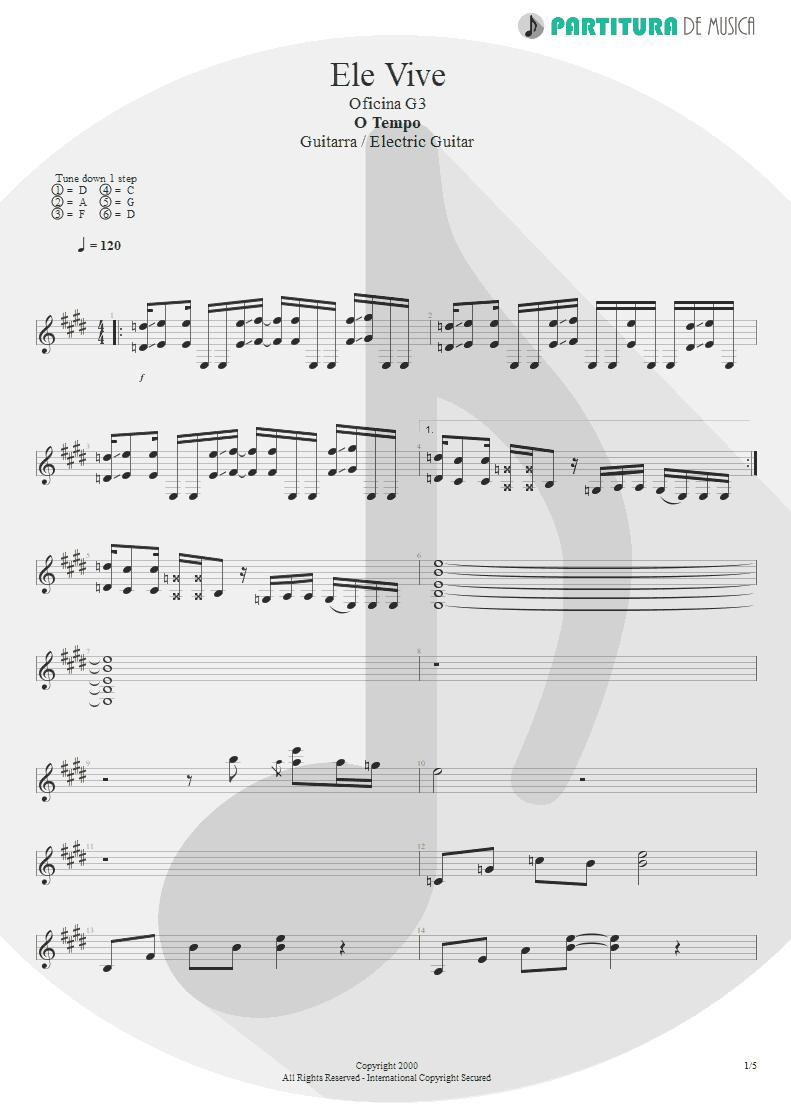 Partitura de musica de Guitarra Elétrica - Ele Vive | Oficina G3 | O Tempo 2000 - pag 1