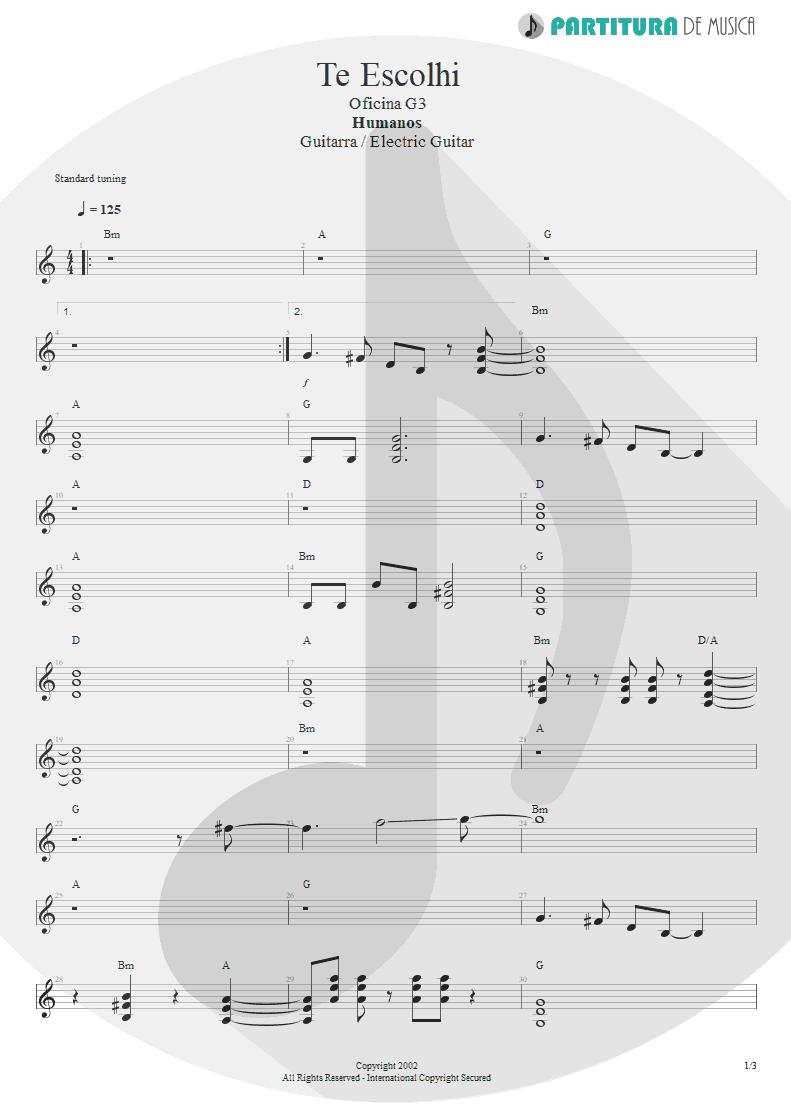 Partitura de musica de Guitarra Elétrica - Te Escolhi | Oficina G3 | Humanos 2002 - pag 1