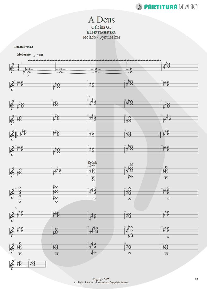 Partitura de musica de Teclado - A Deus | Oficina G3 | Elektracustika 2007 - pag 1