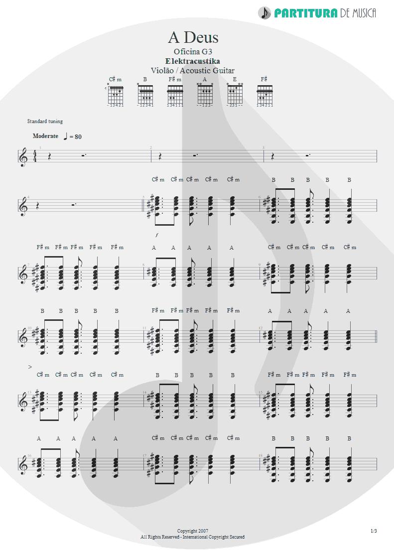 Partitura de musica de Violão - A Deus | Oficina G3 | Elektracustika 2007 - pag 1