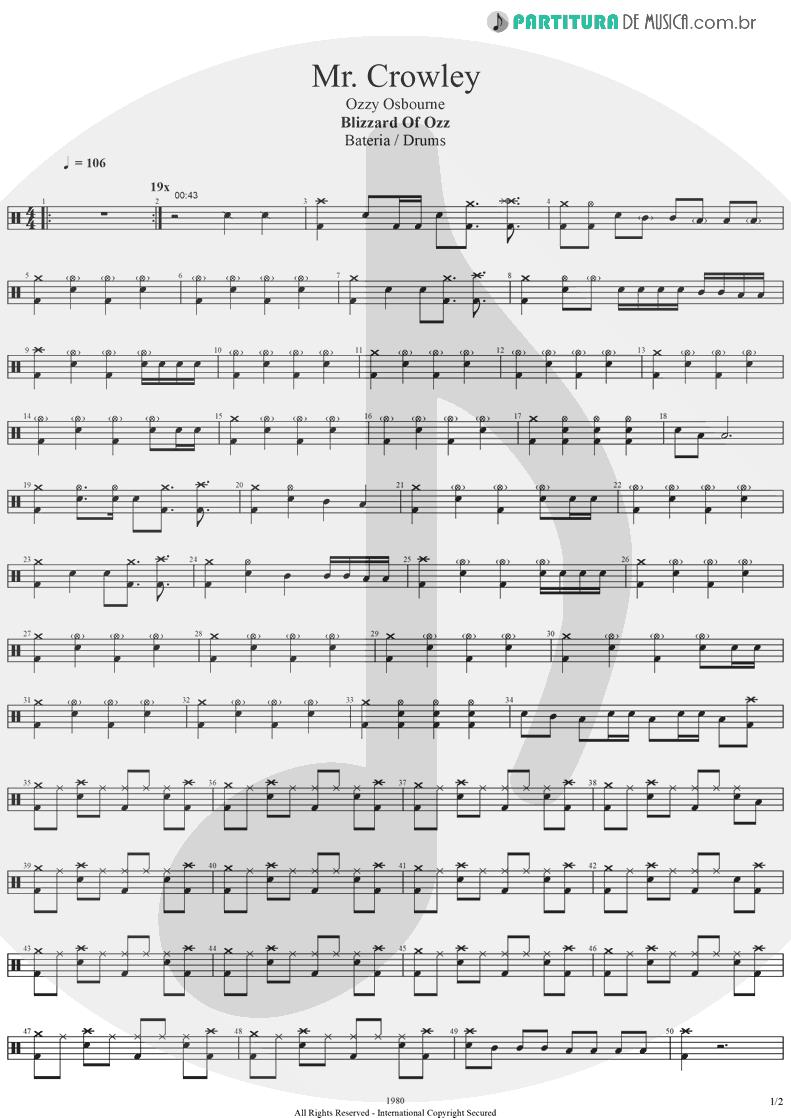 Partitura de musica de Bateria - Mr. Crowley | Ozzy Osbourne | Blizzard Of Ozz 1980 - pag 1