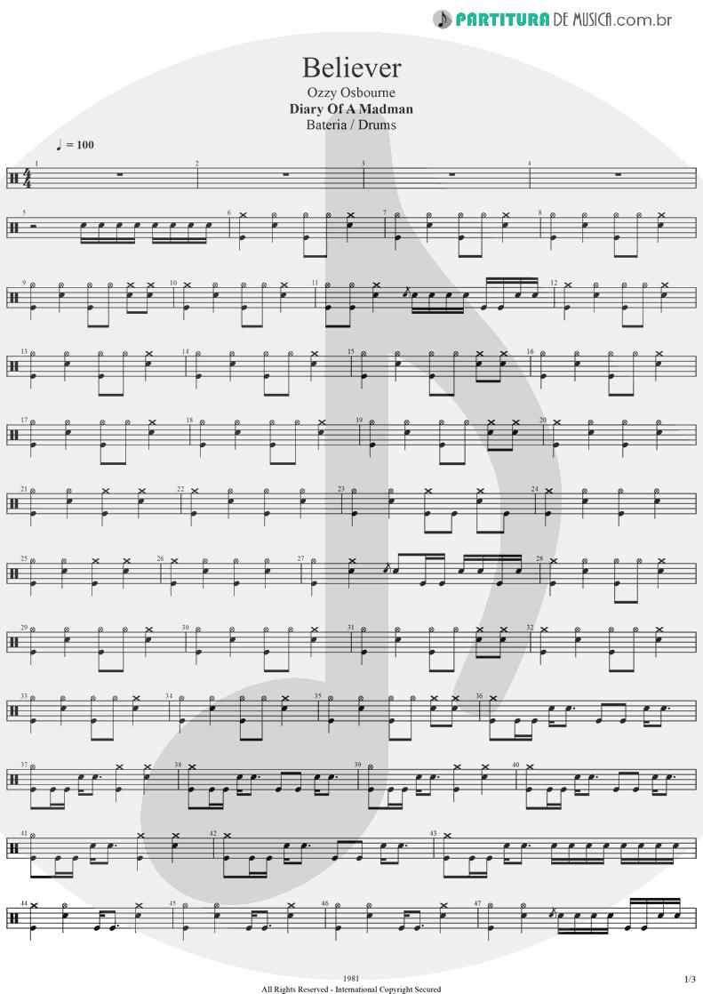 Partitura de musica de Bateria - Believer   Ozzy Osbourne   Diary Of A Madman 1981 - pag 1