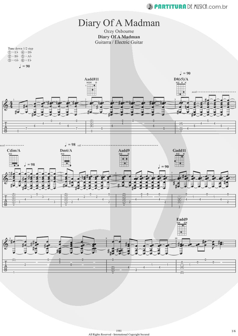 Tablatura + Partitura de musica de Guitarra Elétrica - Diary Of A Madman | Ozzy Osbourne | Diary Of A Madman 1981 - pag 1