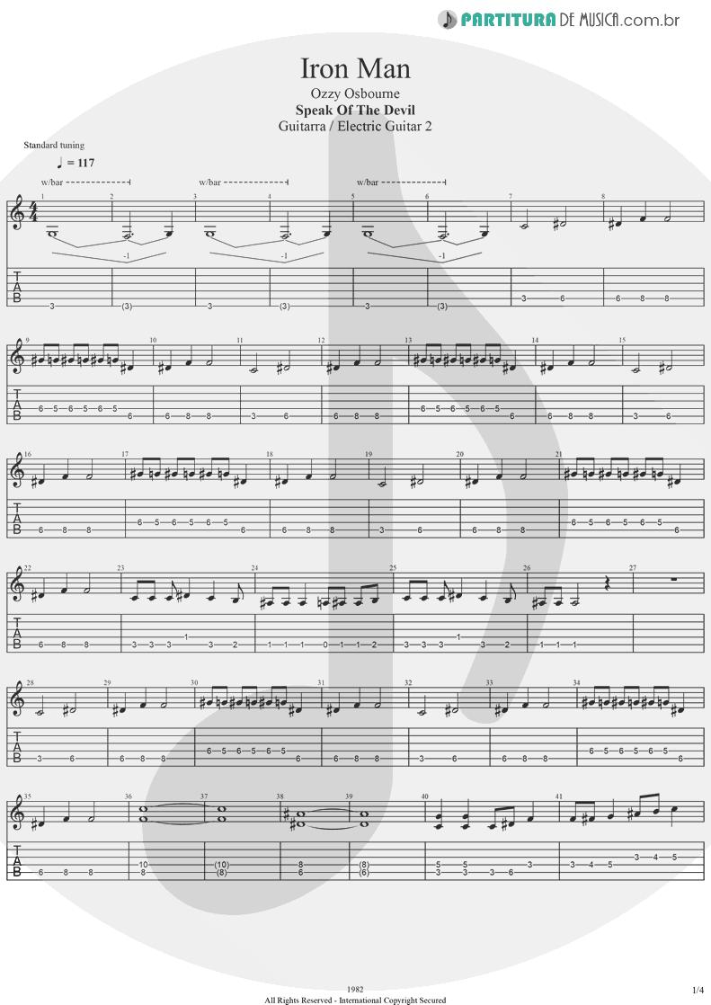 Tablatura + Partitura de musica de Guitarra Elétrica - Iron Man | Ozzy Osbourne | Speak Of The Devil 1982 - pag 1