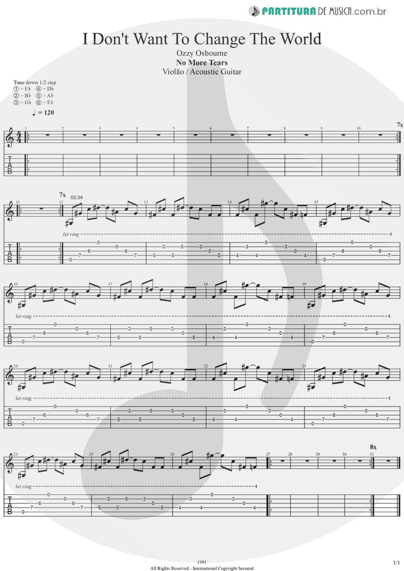 Tablatura + Partitura de musica de Violão - I Don't Want To Change The World | Ozzy Osbourne | No More Tears 1991 - pag 1