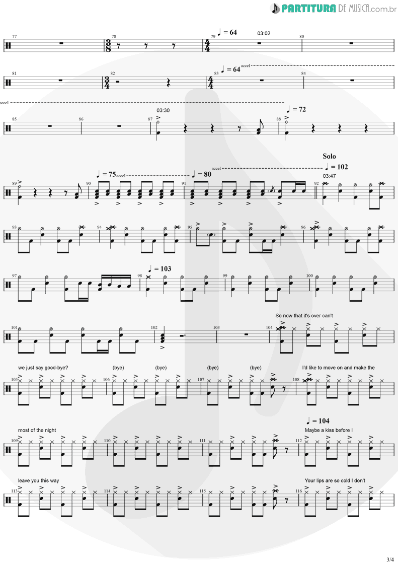 Partitura de musica de Bateria - No More Tears | Ozzy Osbourne | No More Tears 1991 - pag 3