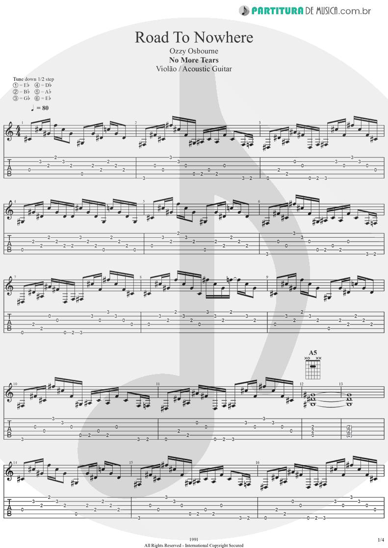 Tablatura + Partitura de musica de Violão - Road To Nowhere | Ozzy Osbourne | No More Tears 1991 - pag 1