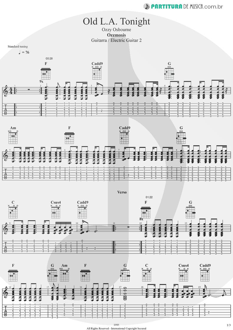Tablatura + Partitura de musica de Guitarra Elétrica - Old L.A. Tonight | Ozzy Osbourne | Ozzmosis 1995 - pag 1