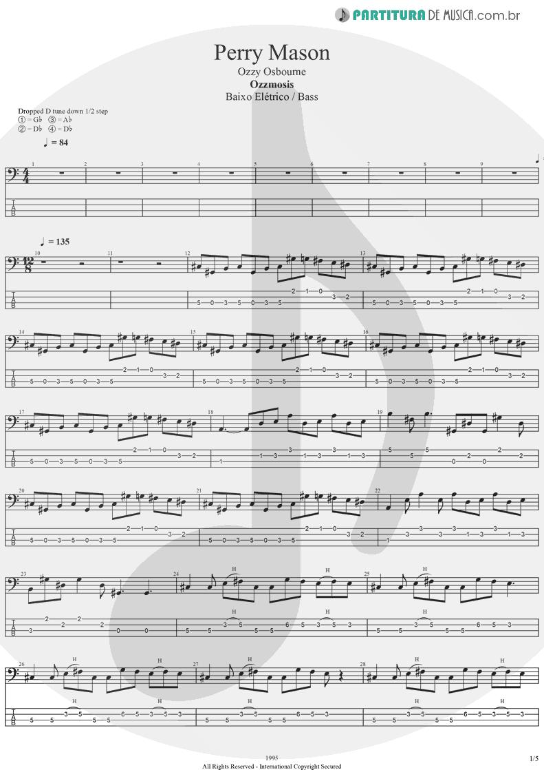 Tablatura + Partitura de musica de Baixo Elétrico - Perry Mason | Ozzy Osbourne | Ozzmosis 1995 - pag 1