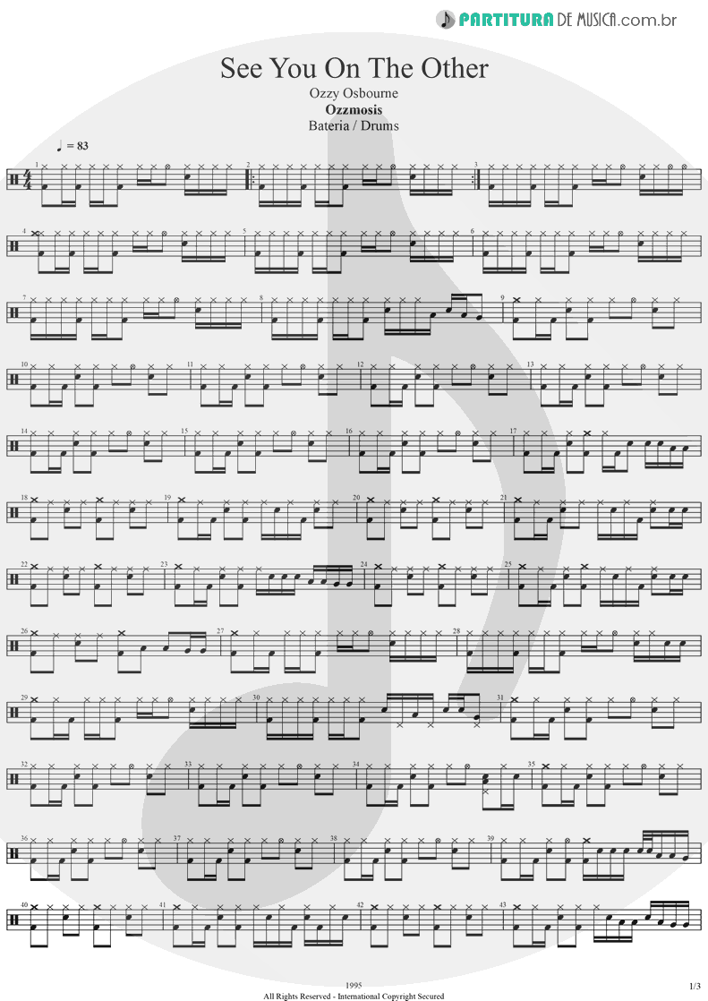Partitura de musica de Bateria - See You On The Other Side   Ozzy Osbourne   Ozzmosis 1995 - pag 1