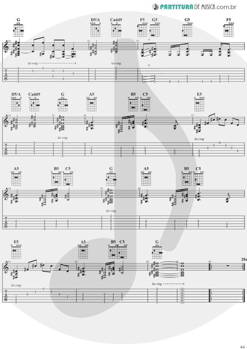 Tablatura + Partitura de musica de Guitarra Elétrica - See You On The Other Side | Ozzy Osbourne | Ozzmosis 1995 - pag 4