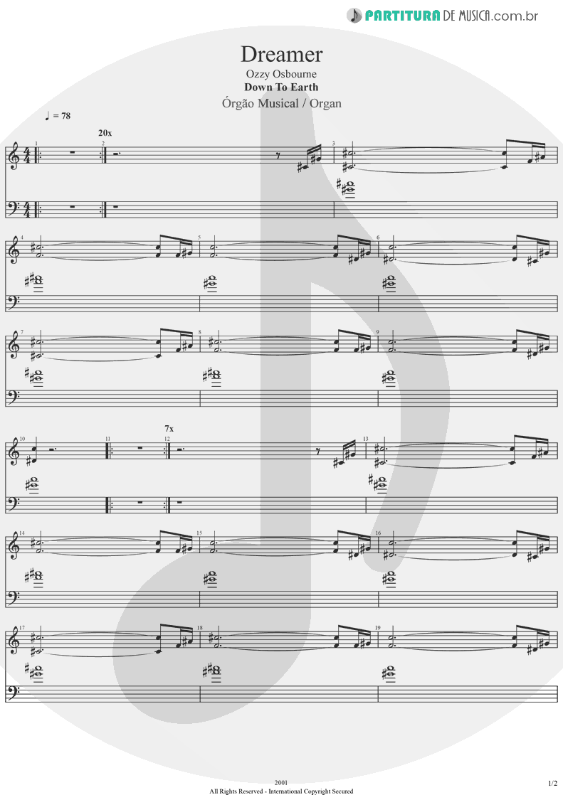 Partitura de musica de Órgão - Dreamer | Ozzy Osbourne | Down To Earth 2001 - pag 1